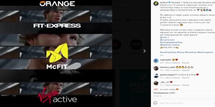 Diretta web McFIT, Virgin Active, Fit Express, Orange Palestre