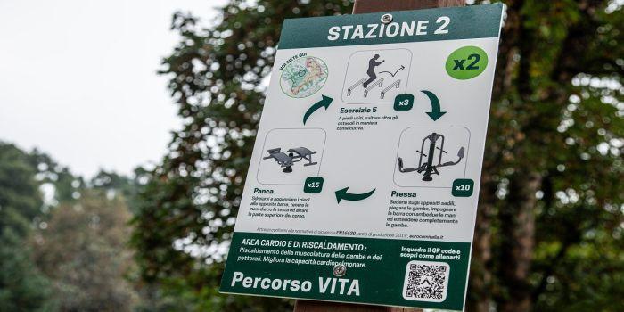 Cartello esplicativo area fitness Parco Sempione